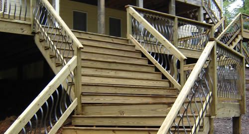 Residential and commercial fence fabrication raleigh for Second story decks with stairs