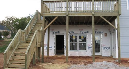 Residential and commercial fence fabrication raleigh for Second story deck plans pictures