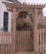 Pointed Picket Fence with Gate Arbor