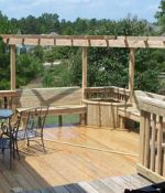 Corner Deck Arbor with Planter & Benches